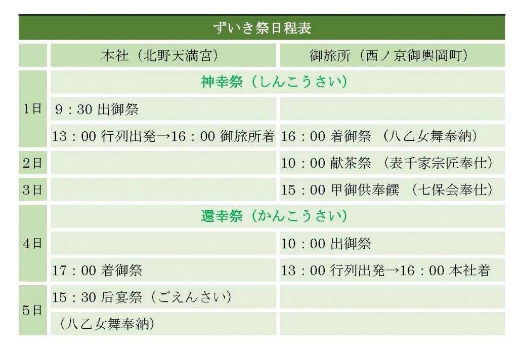 zuiki matsuri schedule